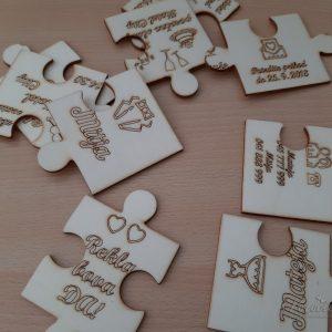 Leseno poročno vabilo Puzzle