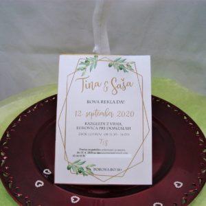 Poročna vabila Zelenje 099
