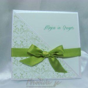 Poročno vabilo Alegra zelena