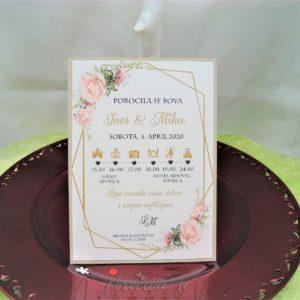 Poročna vabila Cvetje 086