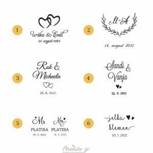 Poročni kozarci vzorci